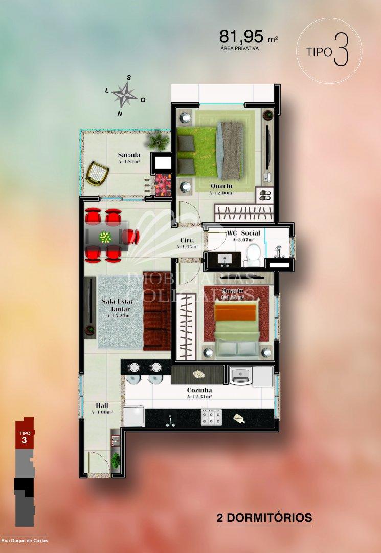 Planta tipo 3: 2 dormitórios, 1 banh. social, 81.95m² área privativa