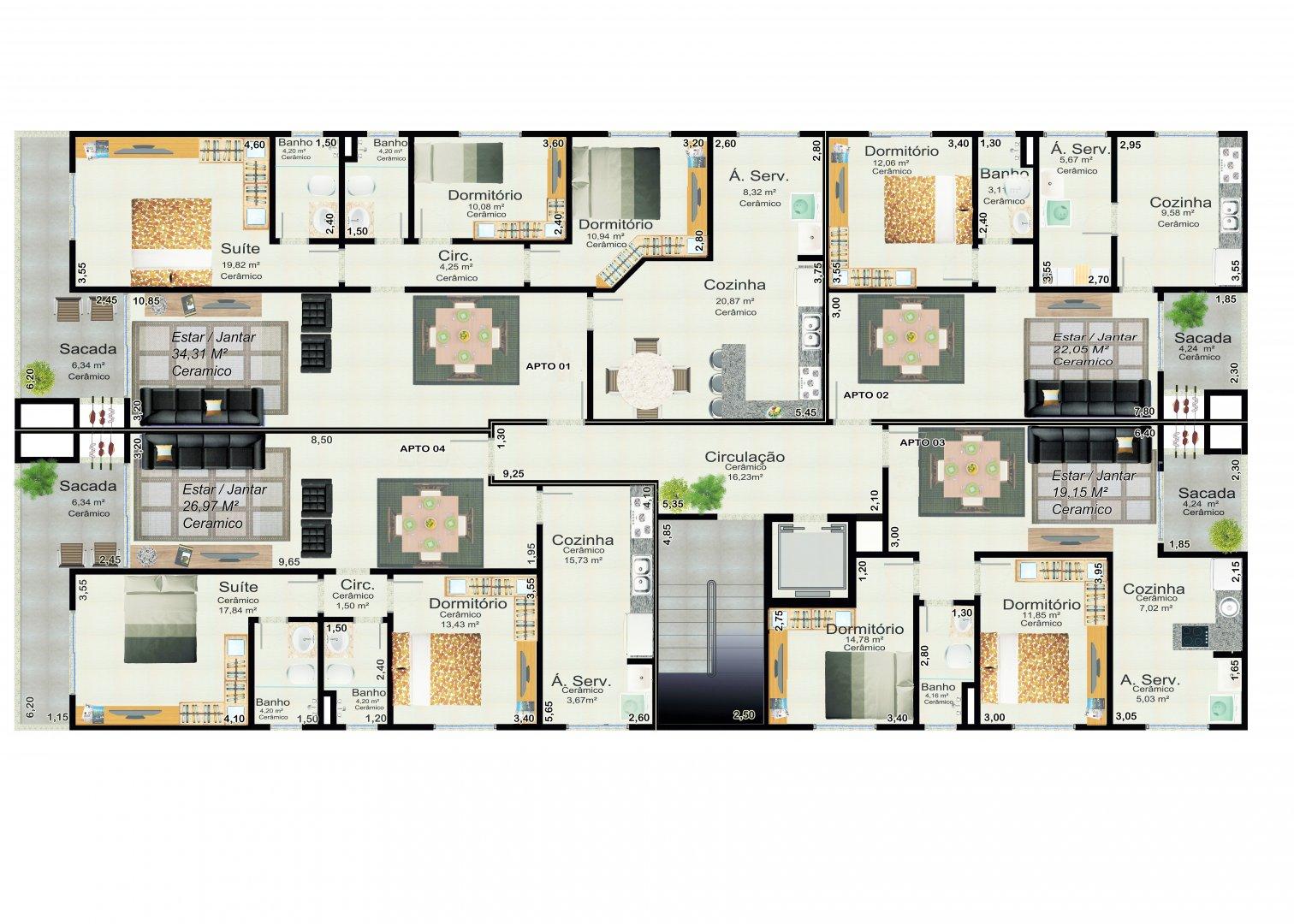 Planta geral dos quatro apartamentos