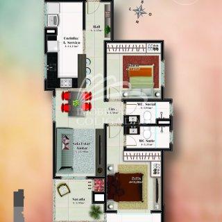 Planta tipo 1: 2 dormitórios, 1 suítes, 1 banh. social, 88.70m² área privativa